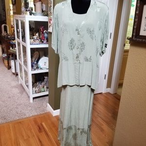 Beautiful Floral Textured Dress/Jacket set